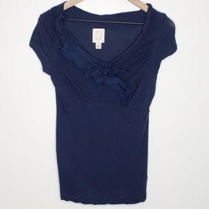 Anthro Rio Rao Blue Tee Shirt Decorative Neckline